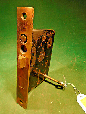 CIRCA 1890 READING HARDWARE ENTRY MORTISE LOCK:  DOUBLE KEYED w/ONE KEY - (9938)