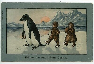 """Thomas Cook Penguin postcard """"Follow the man from Cooks"""""""