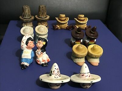 Rare Vintage Mexican Sombrero Salt & Pepper Shakers Lot Of 7