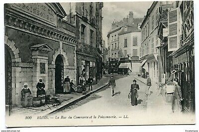 CPA-Carte postale- FRANCE -Blois - La Rue du Commerce et la Poissonnerie