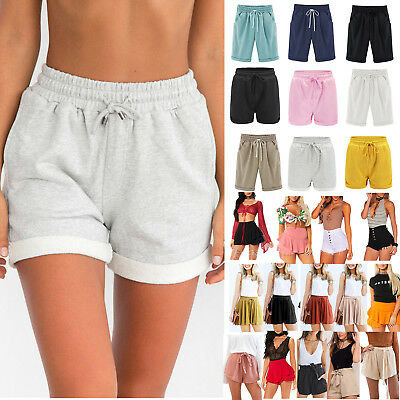 Women High Waisted Shorts Summer Casual Beach Loose Trousers Hot Pants Plus Size