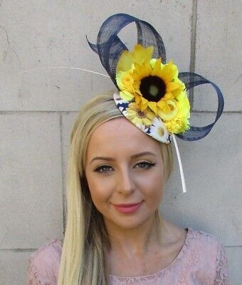 Navy Blue White Yellow Sunflower Daisy Flower Feather Hat Hair Fascinator 5898