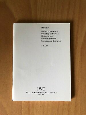 IWC  MARK XV 3253  Bedienungsanleitung Booklet Instructions manual