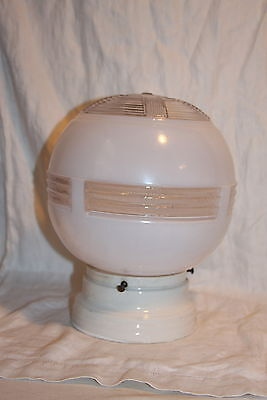Large Antique Art Deco White and Clear Glass Round Globe Ceiling Light Fixture