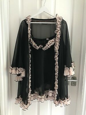 Agent Provocateur Black Negligee Nighty and Thong 3 Piece Set size S