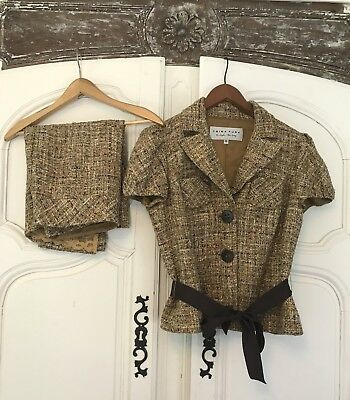 Trina Turk Gold Multi Colored Tweed Skirt Fringe Suit Blazer size 10 Skirt size