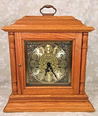 Vtg Oak Cased Bracket Clock 3 Chime Options Model Franz Hermle Mvmt Runs Strikes
