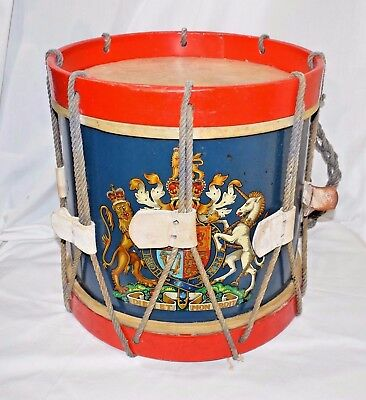 Antique English Victorian Style Painted and Decorated Regimental Drum