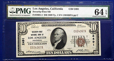 $10 1929 National Bank Note FR#1801-1 Type-I CA PMG64 Choice Uncirculated