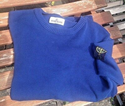 Authentic Stone Island Junior Blue Cotton Knit Sweater Age 14 (Size 146)