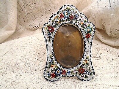 """VINTAGE MINI MICRO MOSAIC PICTURE FRAME - ITALY -1800's1900's -FLORAL 5 1/2""""tall"""