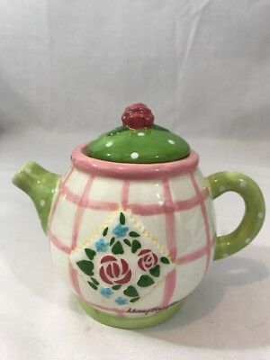 Mary Engelbreit 1998 Enesco Tea Pot Ceramic Pink-Green Rose Patch Collection