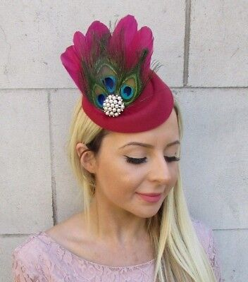 Burgundy Wine Red 1940s Peacock Feather Pillbox Hat Hair Clip Fascinator 5903