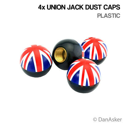 4x Union Jack Car Bike Motorcycle BMX Wheel Tyre Valve Plastic Dust Caps