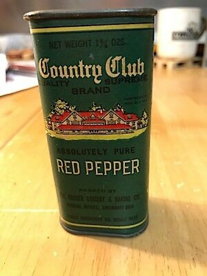 Country Club Absolutely Pure Red Pepper (Ground) Spice Tin : Full (Not Sealed)
