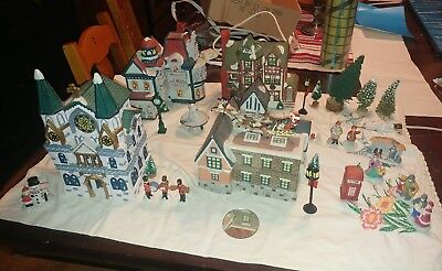 unbranded ceramic christmas village w accessories