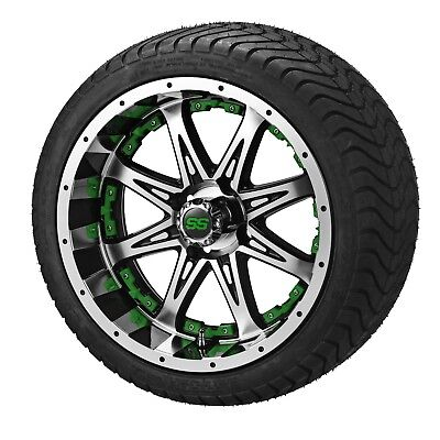 "4 Golf Cart 205/50-10 Tire on 10"" Black/Machined Revenge Wheel W/Green Inserts"