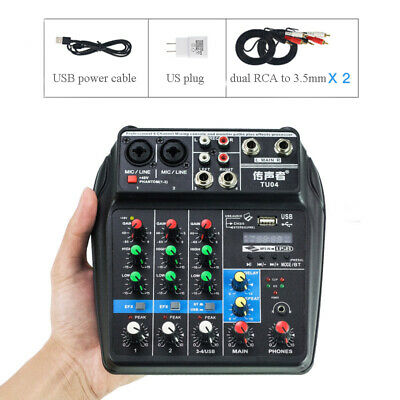 4 Channel Audio Mixer USB Mixing Console with Bluetooth for karaoke Live podcast