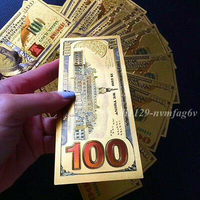 100pcs 24K US $100 Gold Foil Dollar Art Collections Money Home Living Party Gift