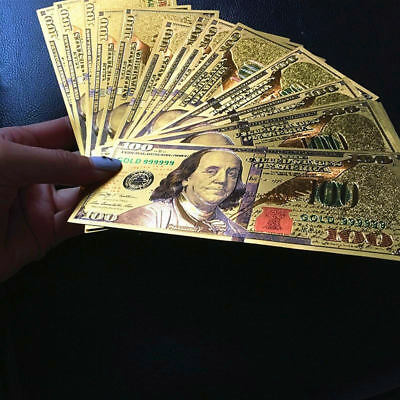 50pcs US $100 Dollar 24K Gold Foil Banknote Home Decorate Living Party Art Gifts