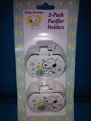 Snoopy 2 Pack Pacifiers Holders New