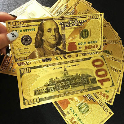 10pcs USA 24K Gold Foil Dollars $100 Banknotes Arts Collections Home Decor Gifts