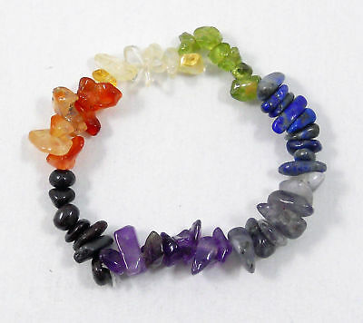 Natural 7 Chakra Amethyst Agate Stone Beaded Stretchy Chip Yoga Bracelet Gift