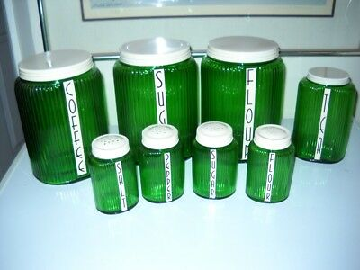 Owens-Illinois Forest Green Ovoid 8 Piece Hoosier Canister Set