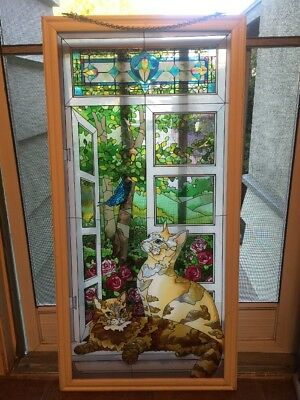 """VINTAGE JOAN BAKER HUGE CAT STAINED GLASS WINDOW PANEL HANGING~40""""Tall X 20""""Wide"""