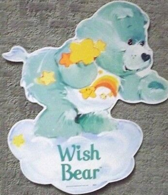 "Vintage Care Bears Wall DieCut decor WiSH BEAR 1982, AGC 14"" Two sides NEW"