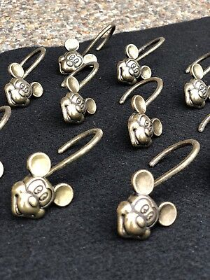 RARE 12 DISNEY MICKEY MOUSE Gold Tone Brass Metal Color Shower Curtain Hooks