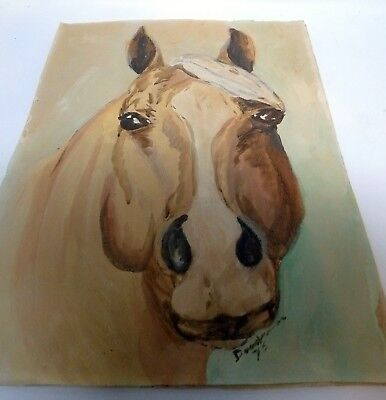 Vintage 1975 Signed Oil Canvas Painting Unframed Brown Horse Head 12 x 16 Inch