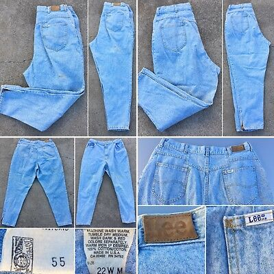 """Vintage Lee Jeans High Waist Tapered Leg Ankle Zip 22W M 36"""" Waist Union Made"""