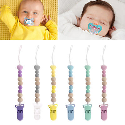 Wooden Bead Dummy Clip Holder Pacifier Clips Soother Chains Baby Teething Toys