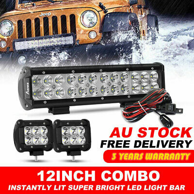 12INCH 240W CREE LED Work Light Bar Spot Flood Combo Offroad Pickup Van ATV 12V