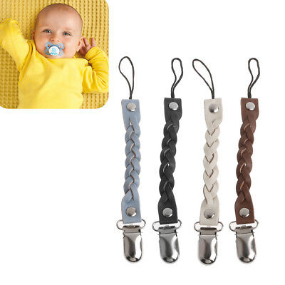 New Toddler Baby Dummy Pacifier Leather Soother Nipple Clips Chain Holder Strap