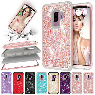 For Samsung Note 9 S9 S10 Bling Shockproof Hybrid Silicone Hard Case Armor Cover