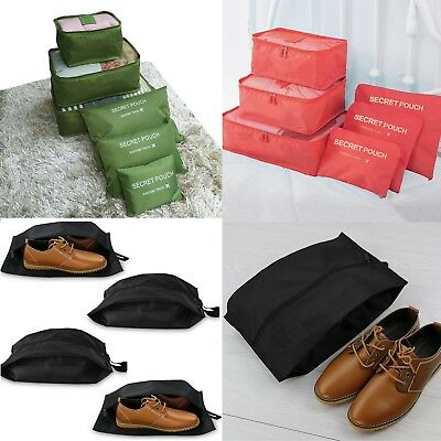 Shoe bags + 6Pcs Packing Cubes Travel Pouches Luggage Organiser Clothes Storage