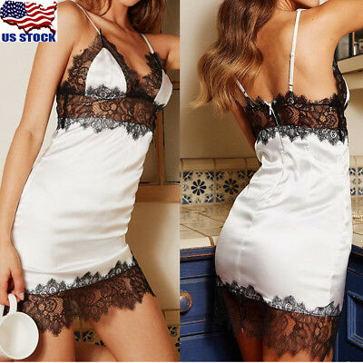 Women's Lace Lingerie V-neck Babydoll Bodycon Nightwear Sleepwear Bodysuit Dress