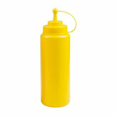 6x Sauce / Squeeze Bottle 1000mL Small Top Cap Wide Mouth Yellow Mustard