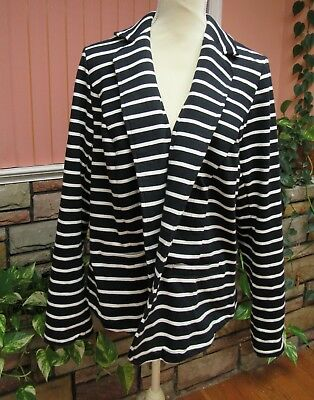 LANE BRYANT One Button Stretch Blazer Jacket Black White Striped Plus Size 16