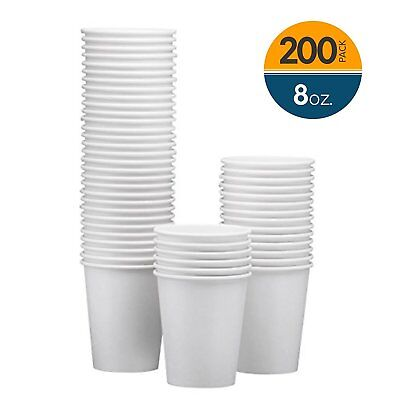 NYHI 200-Pack 8oz White Paper Disposable Cups – Hot/Cold Beverage Drinking Cup –