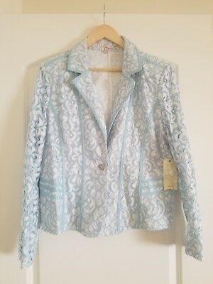 NWT Reba Spring Radiance Floral Lace Light Blue Blazer Jacket XL Gorgeous!