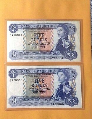 1967(ND)Mauritius, Bank Of Mauritius, QEII 5 Rupees P-30b Banknotes