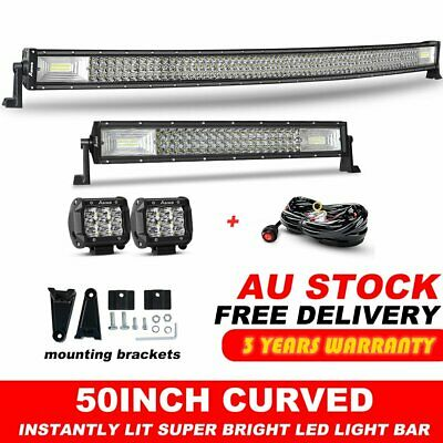 """Offroad 50"""" 2800W Curved LED Light Bar+22"""" Combo+2x 4inch Pods Driving Truck SUV"""