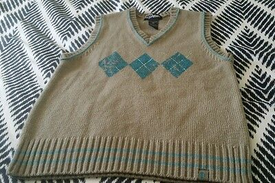 URBAN by Pumpkin Patch Vest Size 6 8 10 Beige Aqua B21