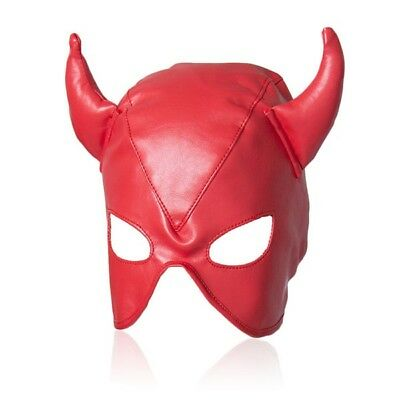 PU Leather Open Eye Mouth Head Mask Fetish Harness Roleplay Horn Hood