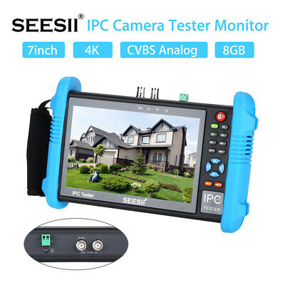 7 Inch 4K IPC Camera CCTV Tester Monitor CVBS POE Audio H.265 PTZ Control LED