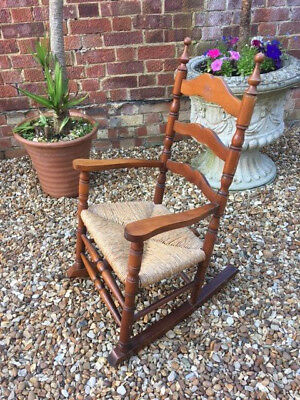 antique shaker style childs rocking chair with rush seat 99 99