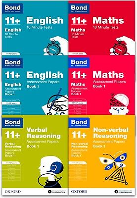 Bond 11+ plus  English, Maths, Non-Verbal, Verbal Reasoning 11-12 Year Pack of 6